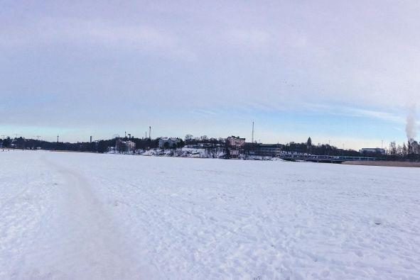 a frozen Töölönlahti Bay in Helsinki Finland