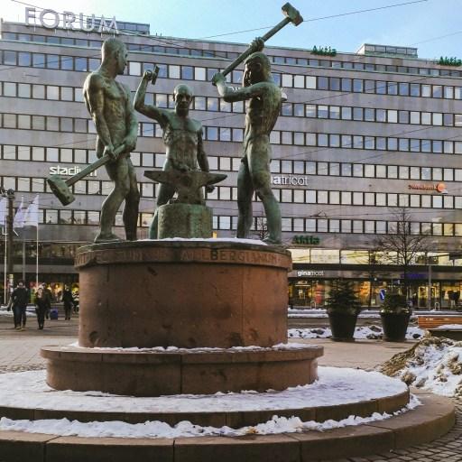 The Three Smiths Statue in Helsinki, Finland