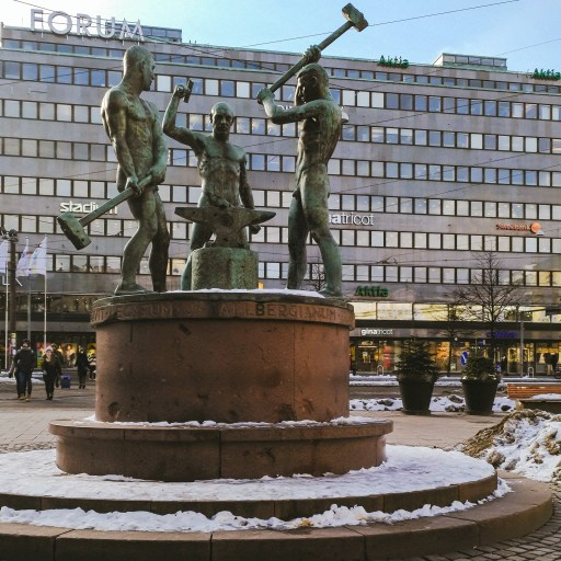 The Three Smiths Statue in Helsinki, Finland