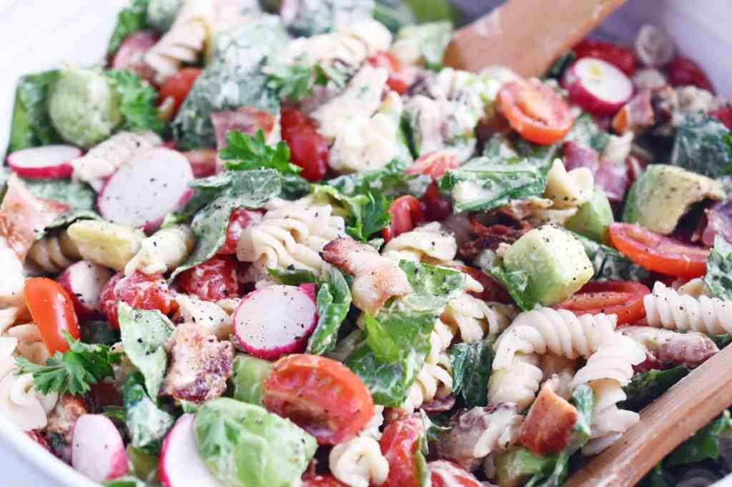 BLT pasta salad close up detail in bowl