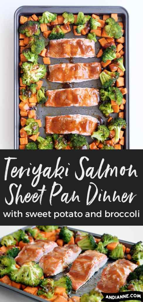 Sheet pan teriyaki salmon with sweet potato and broccoli. This quick and easy sheet pan dinner is perfect for weeknights and is full of flavor! Your family will love, and your guests will too! So easy and quick to prepare - you'll be making this recipe over and over again. #sheetpandinner #sheetpanmeal #salmon #fish #salmonrecipe #salmondinner #onepanmeal #teriyaki #familymeal #familydinner