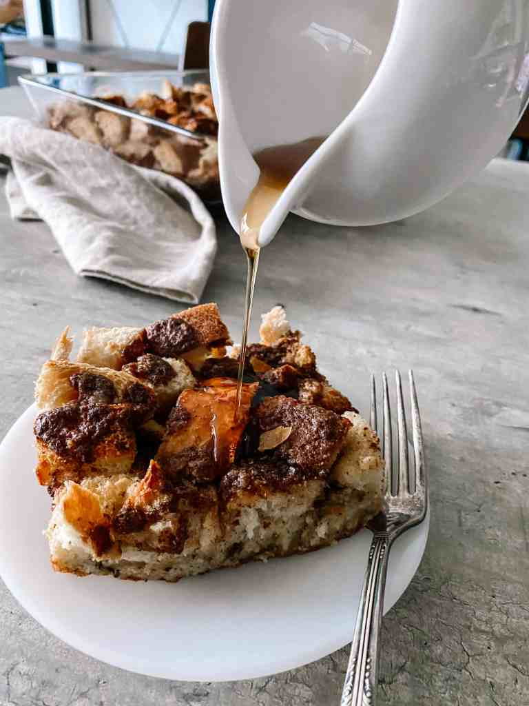 french toast casserole with maple syrup