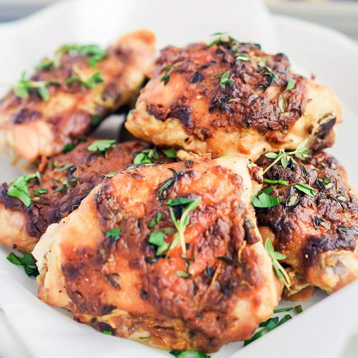 Dijon Thyme Baked Chicken Thighs