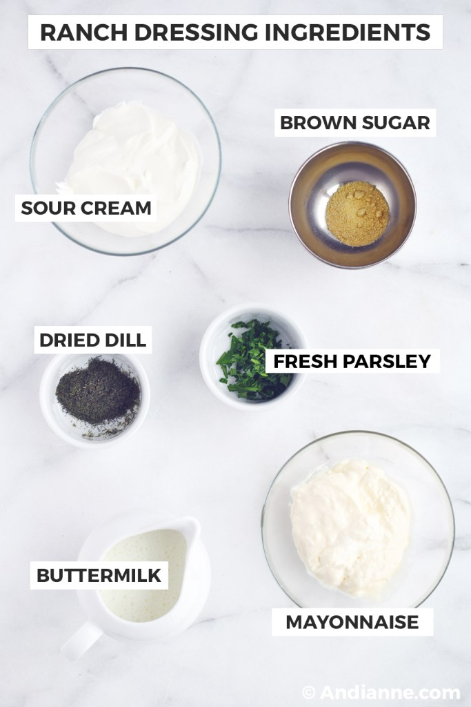 Ranch dressing ingredients in bowls
