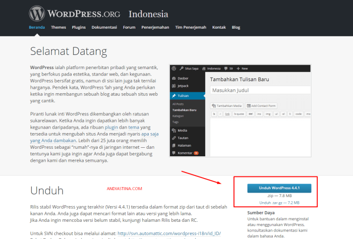 Download Paket Installer WordPress