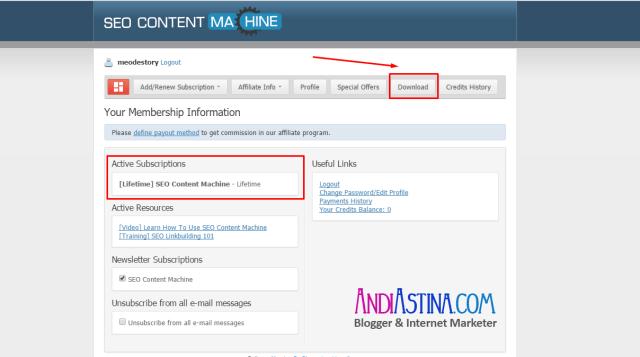 Download SEO Content Machine Halaman Member