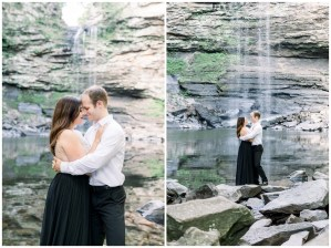 Couple stands together in front of waterfall Stephanie & Matt| Petit Jean State Park Engagement| Andi Bravo Photography| andibravophotography.com