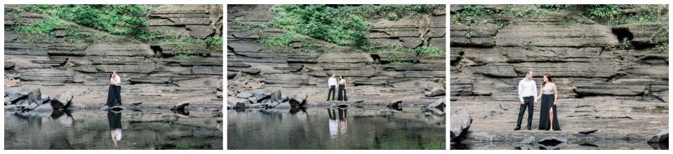 Couple standing in front of rocks with reflection in pond |Petit Jean Engagement|Waterfall engagement|  Petit Jean State Park| Tulsa Wedding Photographer| Arkansas Engagement| Arkansas wedding photographer| Destination Wedding Photographer| Andi Bravo Photography| andibravophotography.com