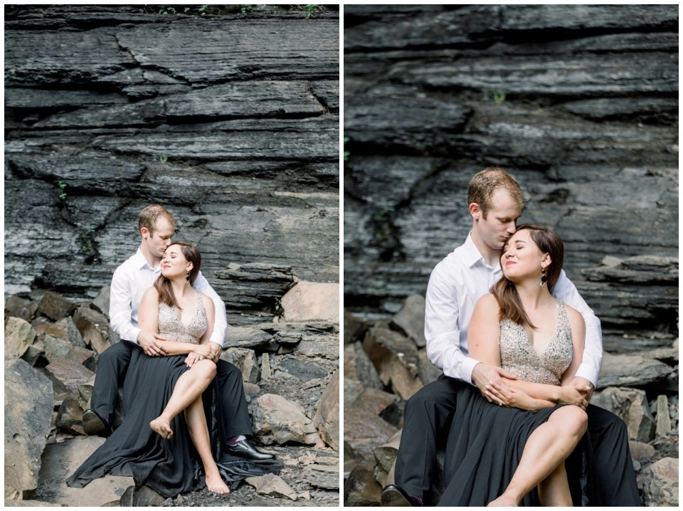 Couple gets intimate while snuggling under rocks |Petit Jean Engagement|Waterfall engagement|  Petit Jean State Park| Tulsa Wedding Photographer| Arkansas Engagement| Arkansas wedding photographer| Destination Wedding Photographer| Andi Bravo Photography| andibravophotography.com