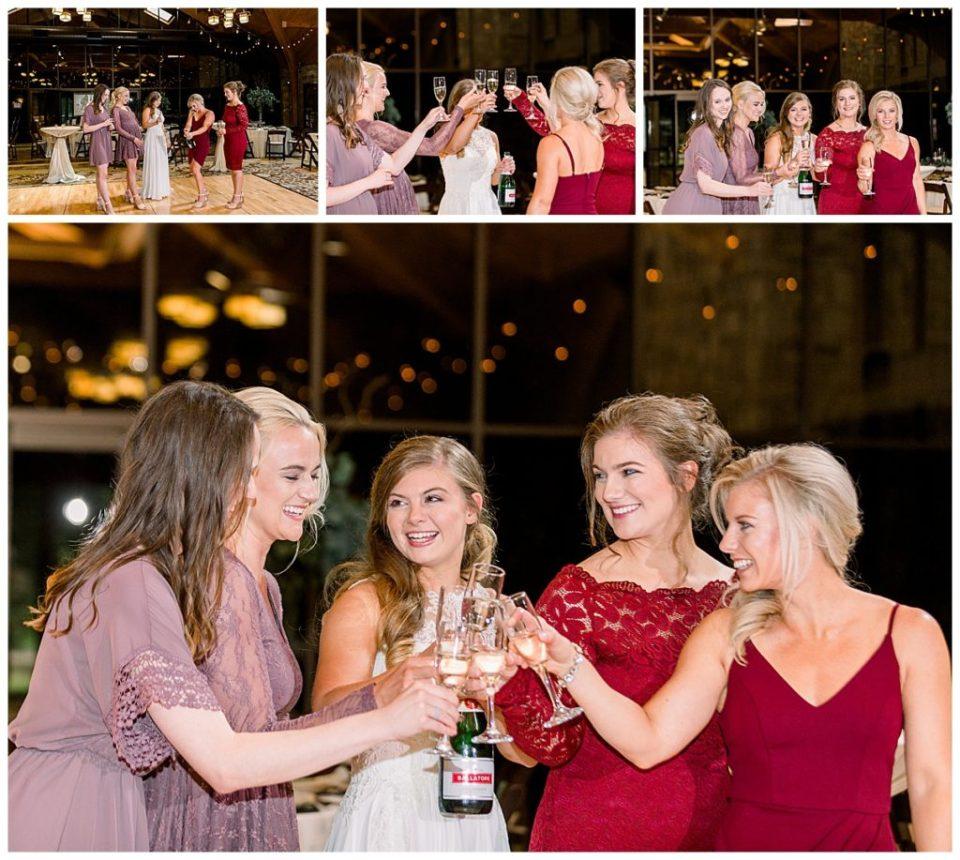 Bridesmaid's toasting before the wedding ceremony at PostOak Lodge in Tulsa, OK| Tulsa Wedding Photographer| PostOak Lodge Wedding| Destination Wedding Photographer| Andi Bravo Photography