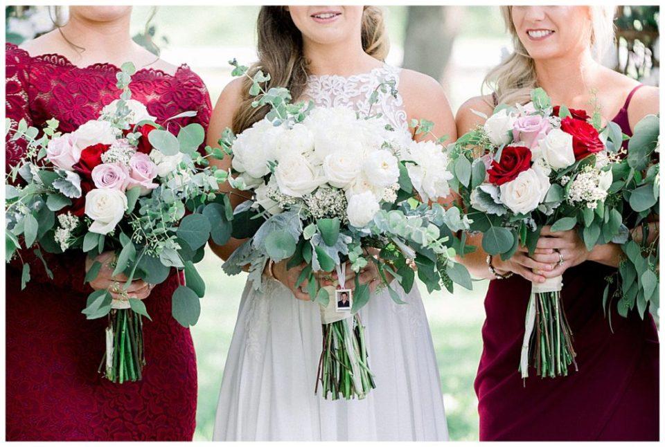 Bridal bouquet and bridesmaids bouquets at PostOak Lodge in Tulsa, OK  Tulsa Wedding Photographer  PostOak Lodge Wedding  Destination Wedding Photographer  Andi Bravo Photography
