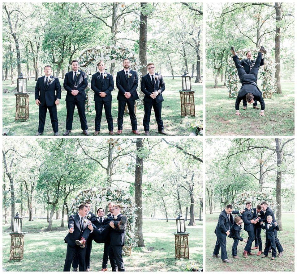 Groom and groomsmen goofing around at PostOak Lodge in Tulsa, OK  Tulsa Wedding Photographer  PostOak Lodge Wedding  Destination Wedding Photographer  Andi Bravo Photography