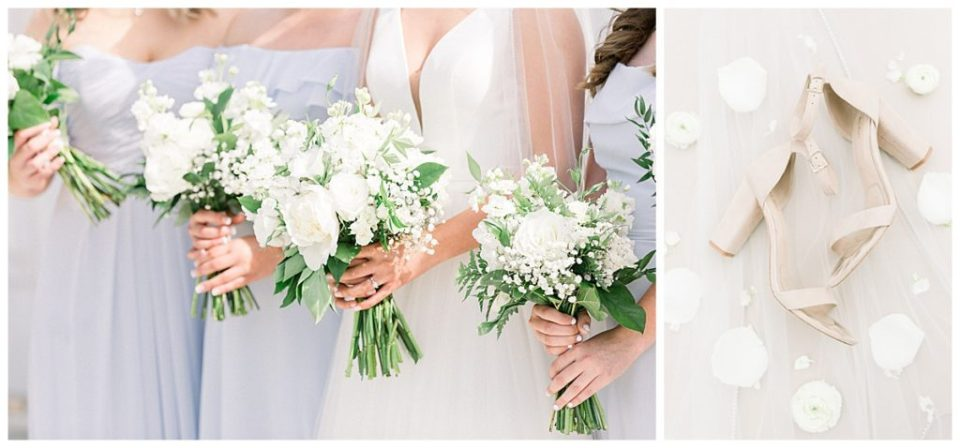 White bridesmaids bouquets| The View At Hillside Barn Wedding| Countryside Wedding|  Tulsa Wedding Photographer| Andi Bravo Photography