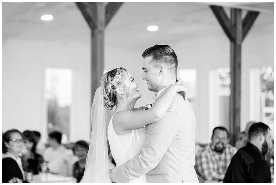 Black and white shot of bride and groom first dance| The View At Hillside Barn Wedding| Countryside Wedding|  Tulsa Wedding Photographer| Andi Bravo Photography