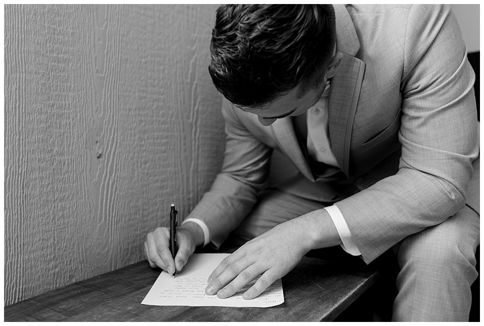 Groom writing vows/letter| The View At Hillside Barn Wedding| Countryside Wedding|  Tulsa Wedding Photographer| Andi Bravo Photography