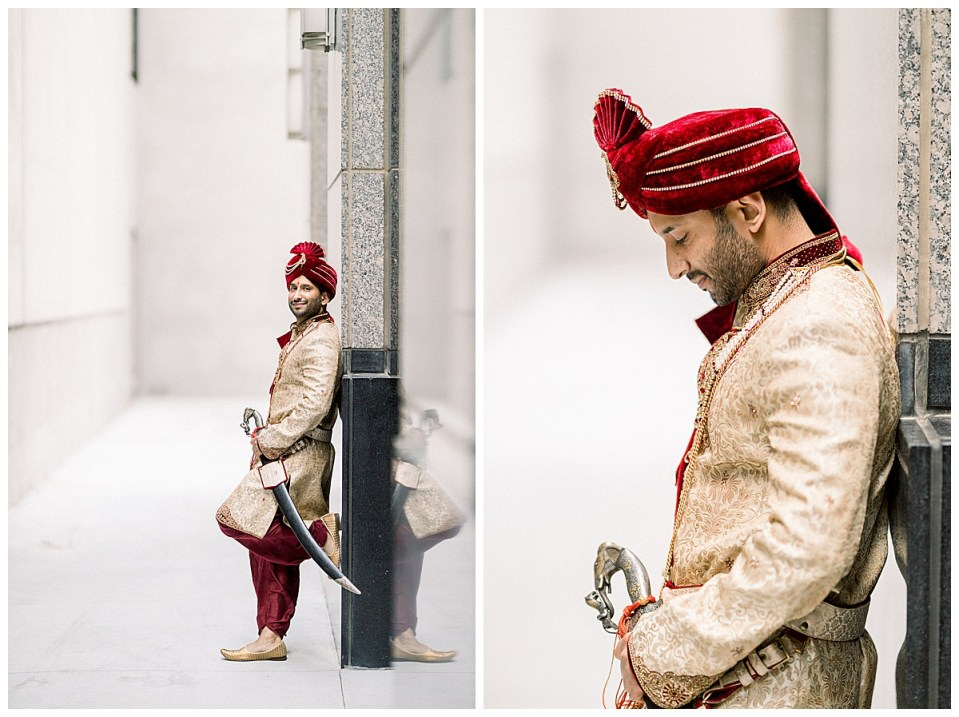 Groom stands against wall with sword| Indian Hindu wedding Tulsa| Tulsa Wedding Photographer| Andi Bravo Photography