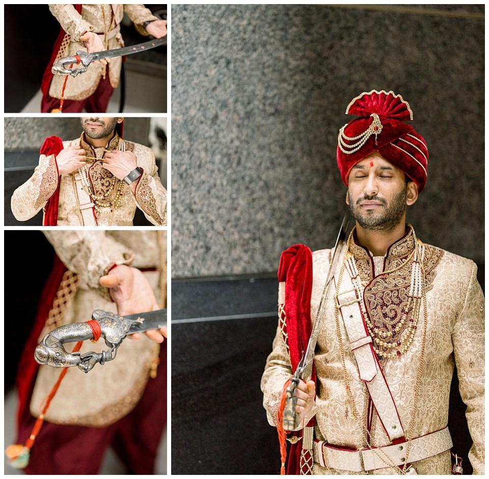 Groom in crimson and gold wedding ceremonial attire with wedding sword| Hindu wedding Tulsa| Tulsa wedding photographer| Andi Bravo Photographer