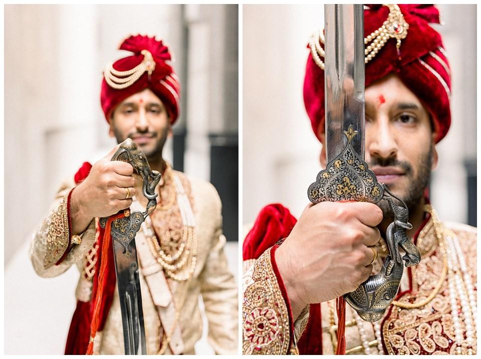 Hindu wedding ceremonial sword held in front of groom's face| Indian wedding Tulsa| Indian wedding Tulsa| Tulsa wedding photographer| Andi Bravo Photography