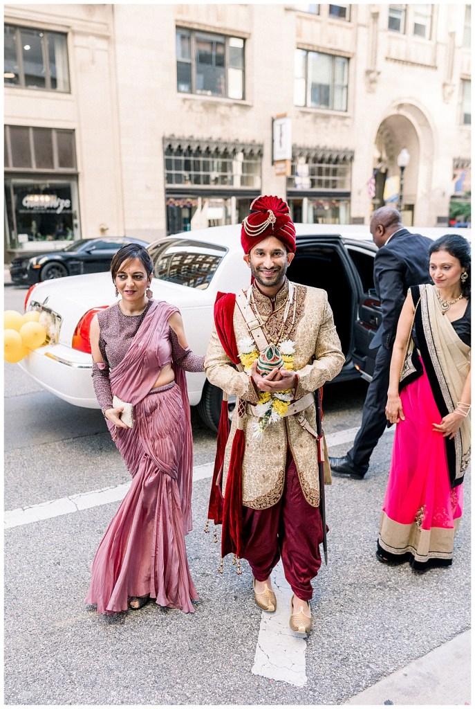 Groom arriving via limo for his Hindu wedding ceremony| Tulsa wedding photographer| Andi Bravo Photography