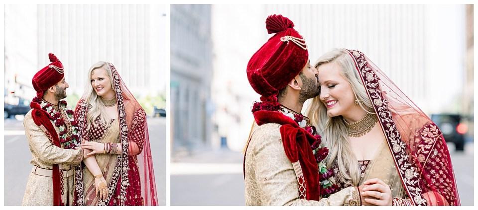 Groom kisses bride on forehead in middle of street| The Mayo Tulsa Weddings| Hindu wedding| Indian wedding Tulsa| Andi Bravo Photography