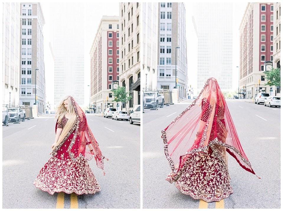 Bride twirling in crimson and gold Indian  Hindu panetar and veil| Indian Wedding Tulsa| The Mayo Tulsa| Tulsa wedding photographer| Destination wedding photographer| Andi Bravo Photography