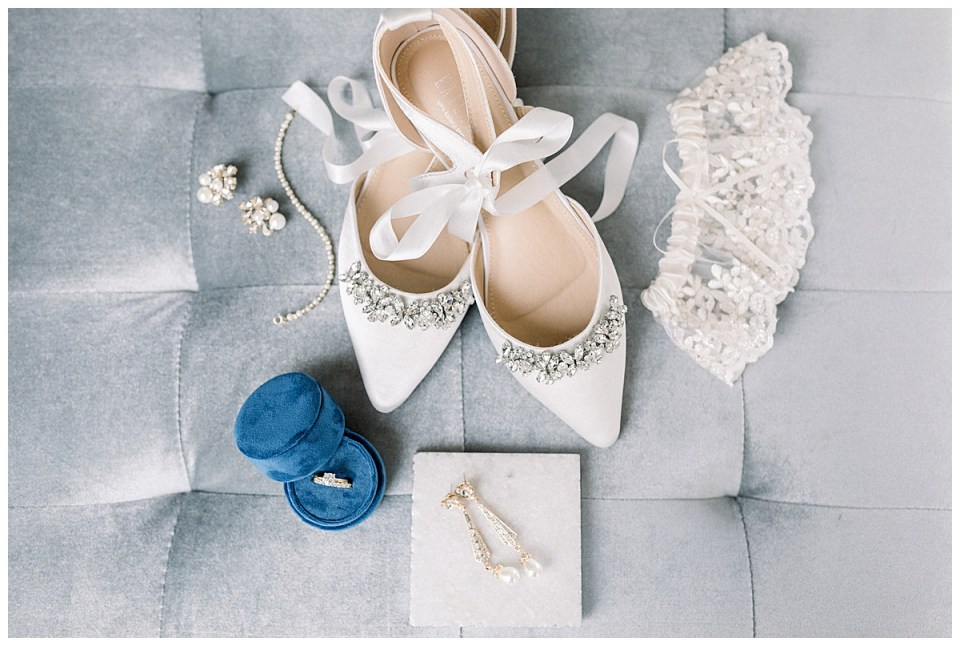 Wedding detail shots| White ankle tie wedding flats, bridal jewelry and garter| Tulsa wedding at The Mayo| Tulsa wedding photographer| Destination wedding photographer| Andi Bravo Photography