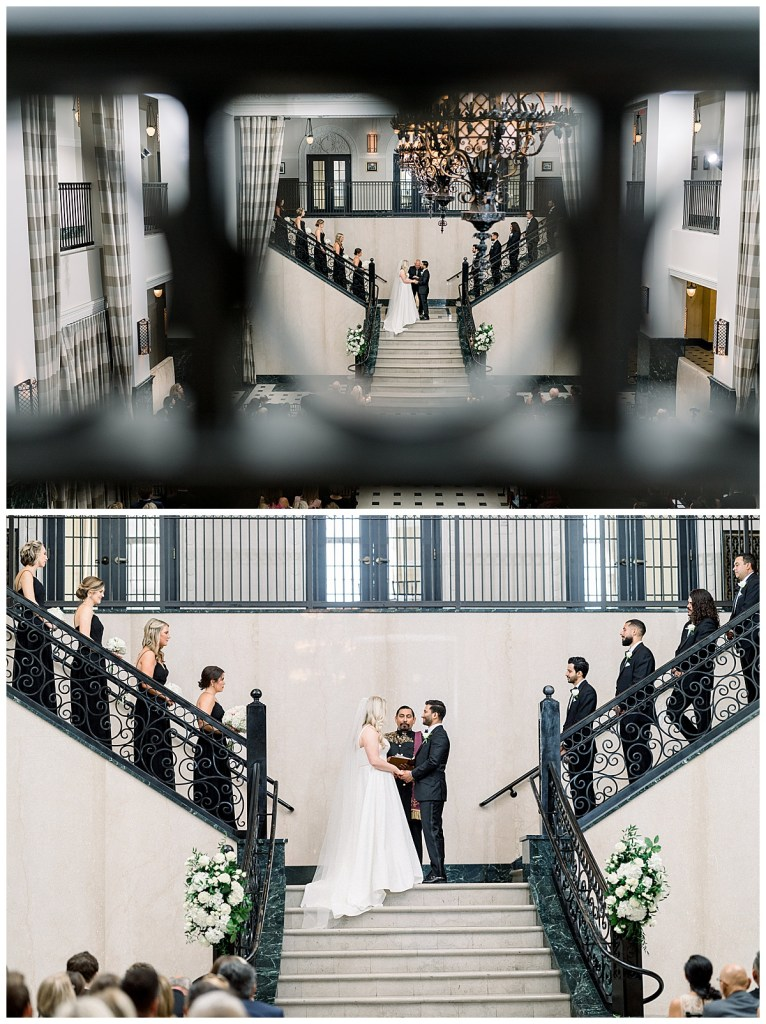 Bride and groom saying vows at alter| creative shot through gorgeous railing at The Mayo Hotel| Tulsa wedding| Tulsa wedding photographer| Andi Bravo Photography