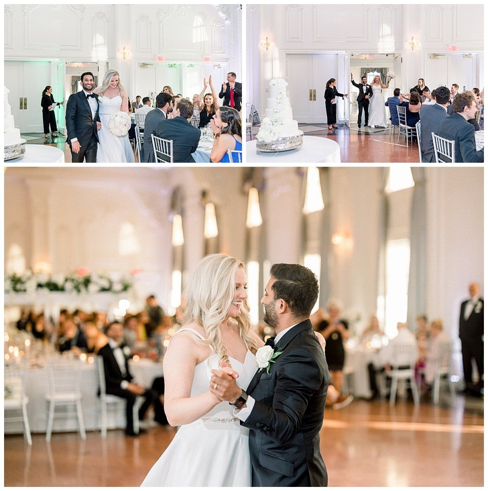 Bride and groom enter wedding reception and begin first dance| The Mayo Hotel Wedding| Tulsa wedding photographer| Andi Bravo Photography