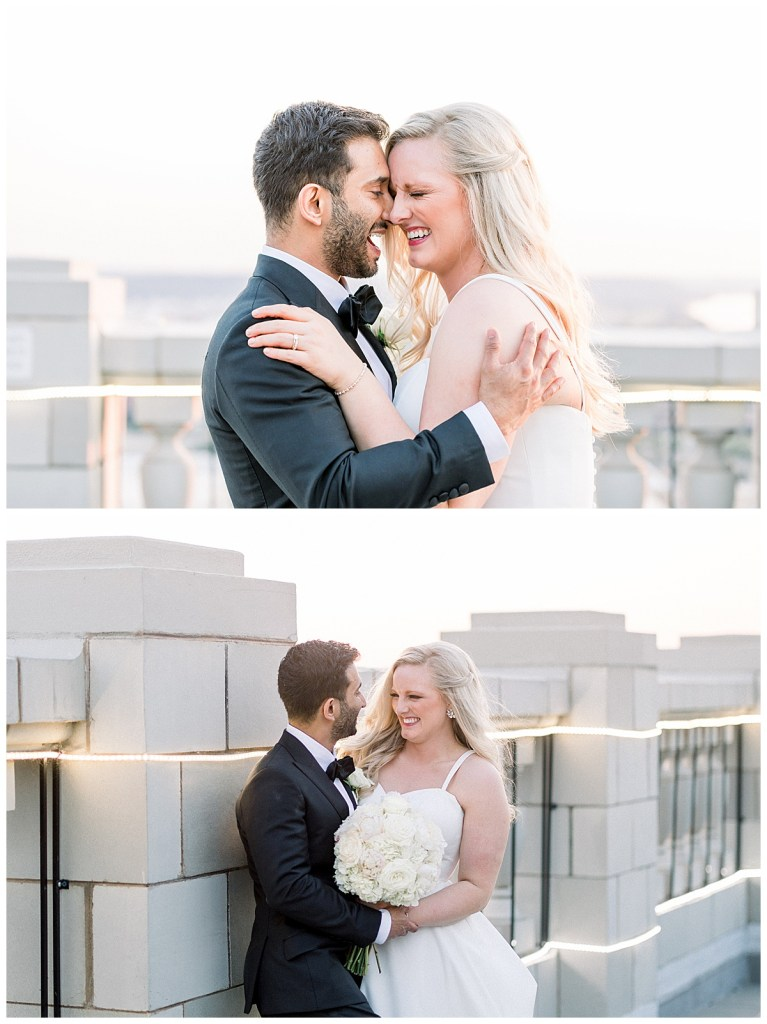 Bride and groom embrace while laughing hard on rooftop of The Mayo Hotel| The Mayo Hotel weddings| Tulsa wedding photographer| Destination wedding photographer| Andi Bravo Photography