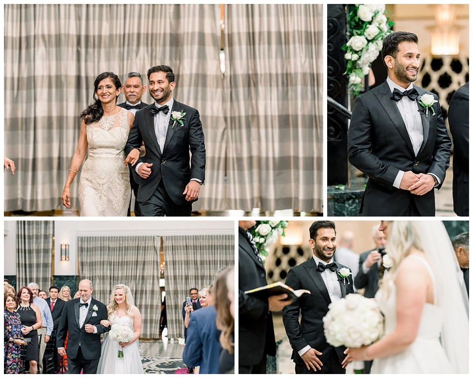Groom walking down aisle with mother| Groom sees bride walking down aisle with her father| The Mayo Hotel Wedding| Wedding part 2| Tulsa wedding photographer| Andi Bravo Photography