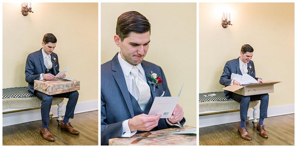 Groom opening gifts| Andi Bravo Photography