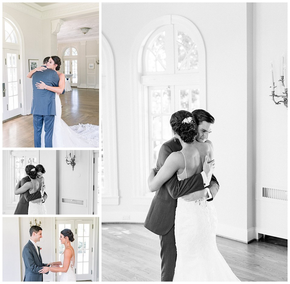Couple hugs after first look before wedding| wedding first look| Tulsa wedding photographer| Andi Bravo Photography