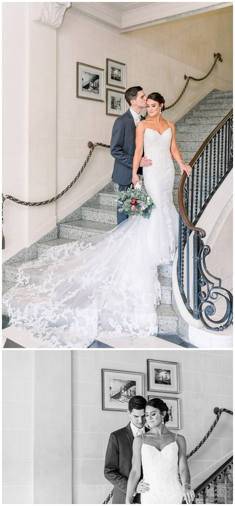 Groom nuzzles bride on stairs at wedding venue mansion| wedding gown flowing down staircase| Tulsa wedding venue| Andi Bravo Photography