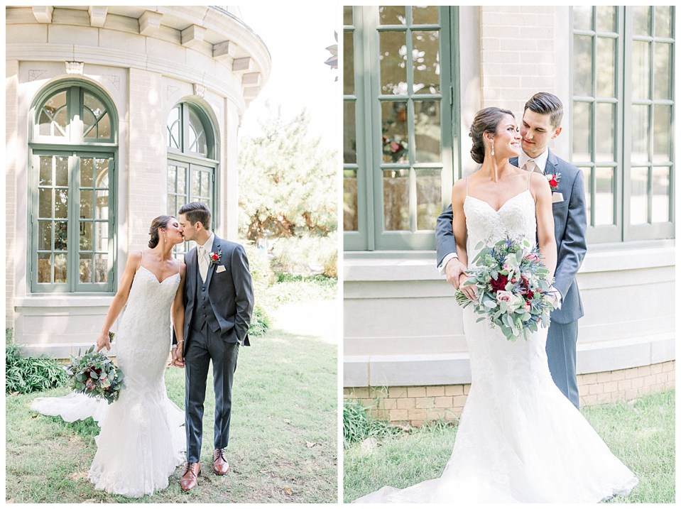 Bride and groom walking outside of the Mansion at Woodward Park| Andi Bravo Photography
