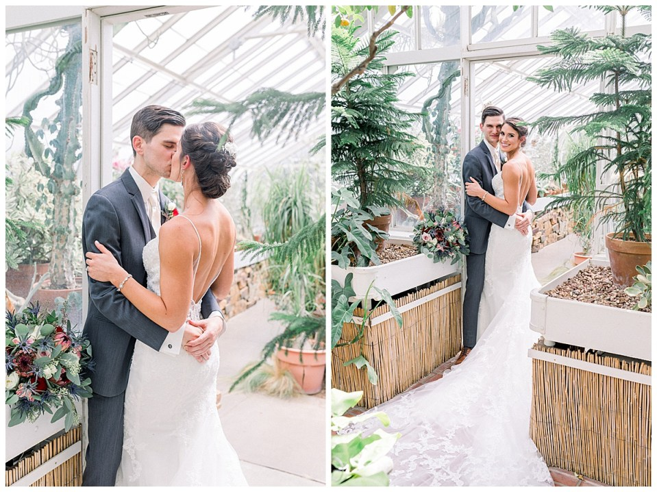 Bride and groom kissing in greenhouse| Andi Bravo Photography
