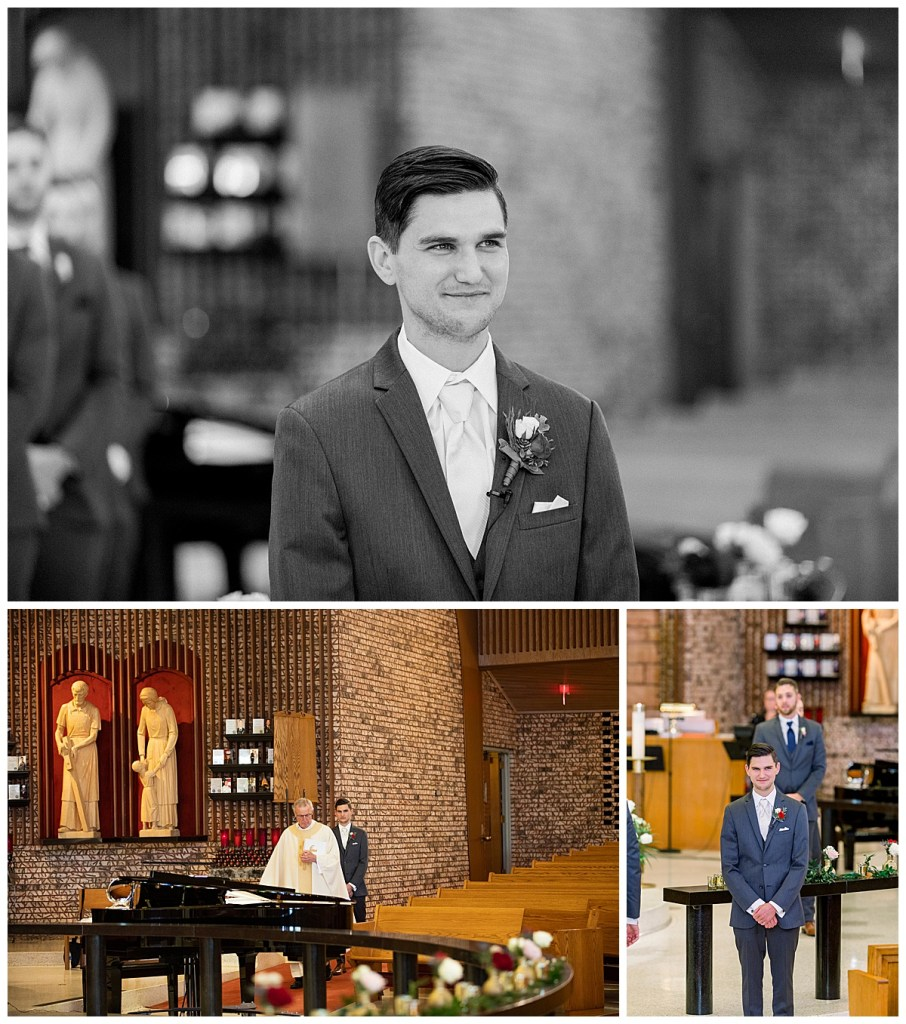 Groom waiting on bride in chapel| Andi Bravo Photography