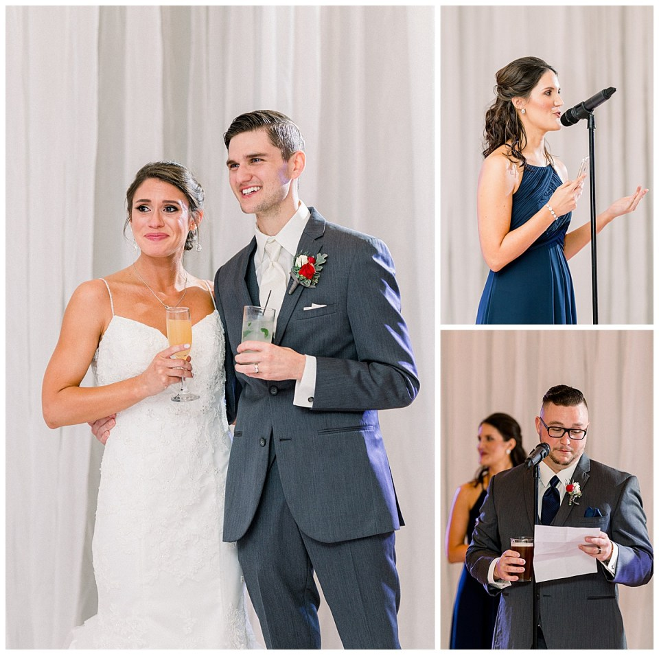 Bride and groom tearing up while listening to speeches| Andi Bravo Photography