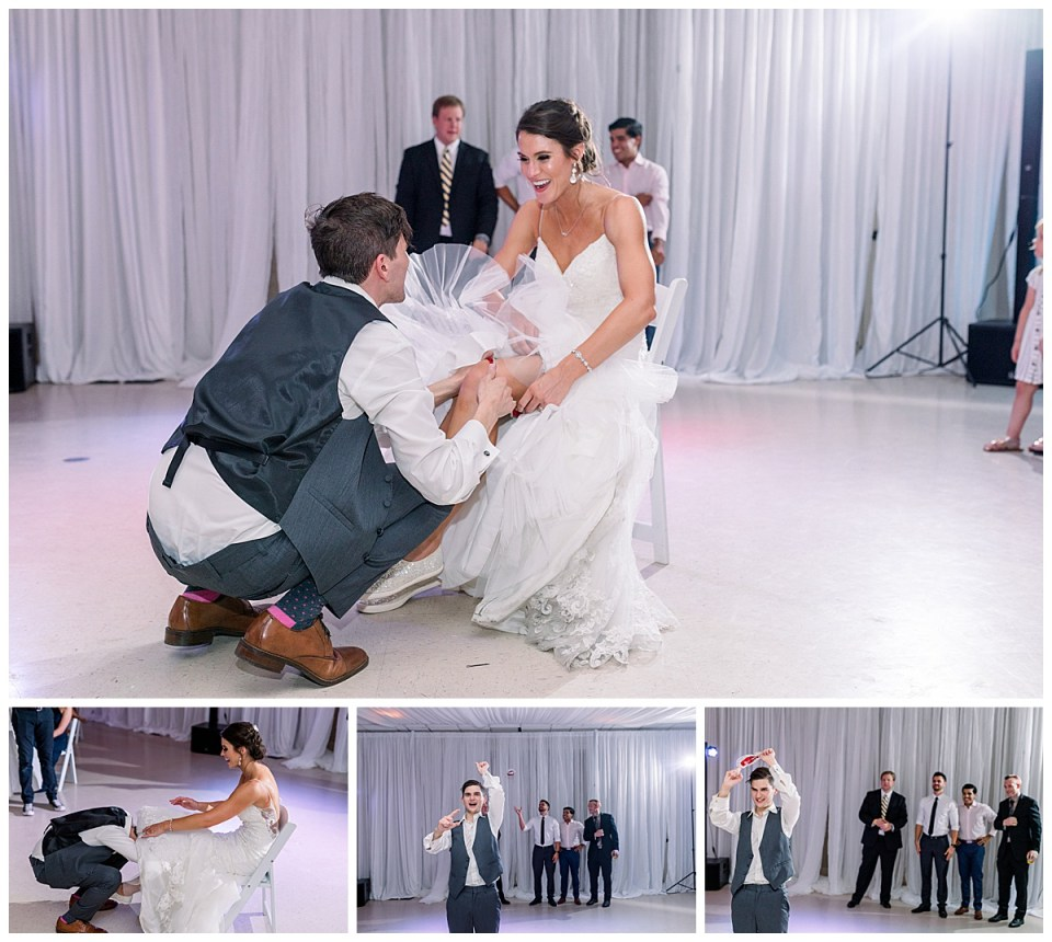 Groom slips garter off bride for garter toss| Tulsa wedding photographer| Andi Bravo Photography