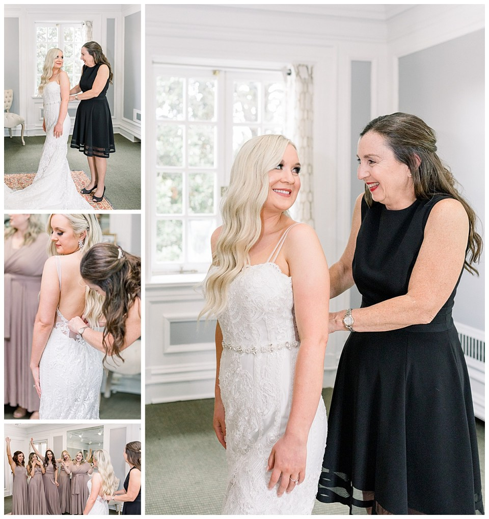 Mother of the bride zipping bride's dress| bride and mother of the bride| Andi Bravo Photography