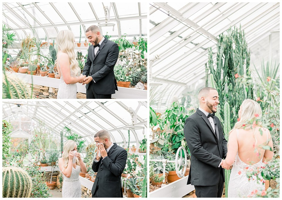 Bride and groom tear up during first look| Greenhouse first look| Tulsa weddings| Andi Bravo Photography
