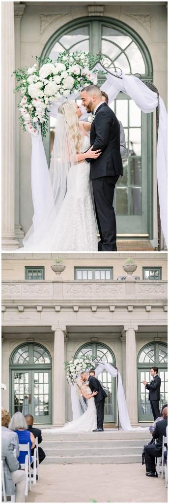 Bride and groom first kiss at alter| You may kiss the bride| Tulsa weddings| Mansion at Woodward Park| Tulsa wedding venue| Andi Bravo Photography
