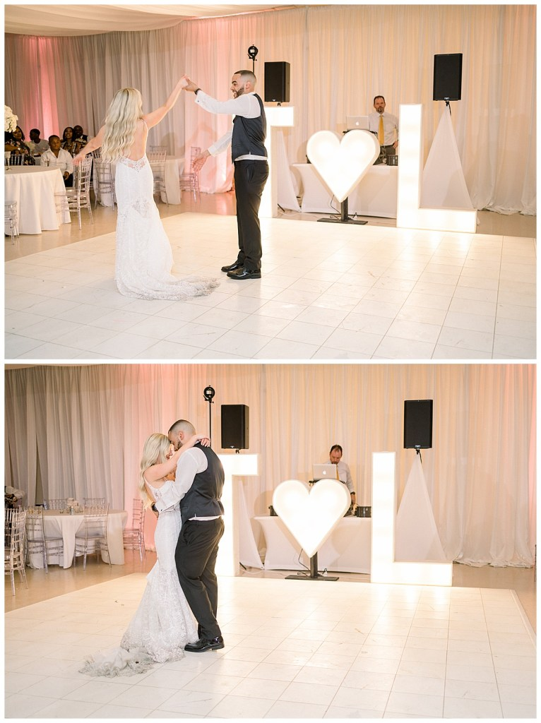 Bride and groom dance on dance-floor with bright marquee letters and marquee heart| Tulsa wedding| Tulsa wedding photographer| Andi Bravo Photography