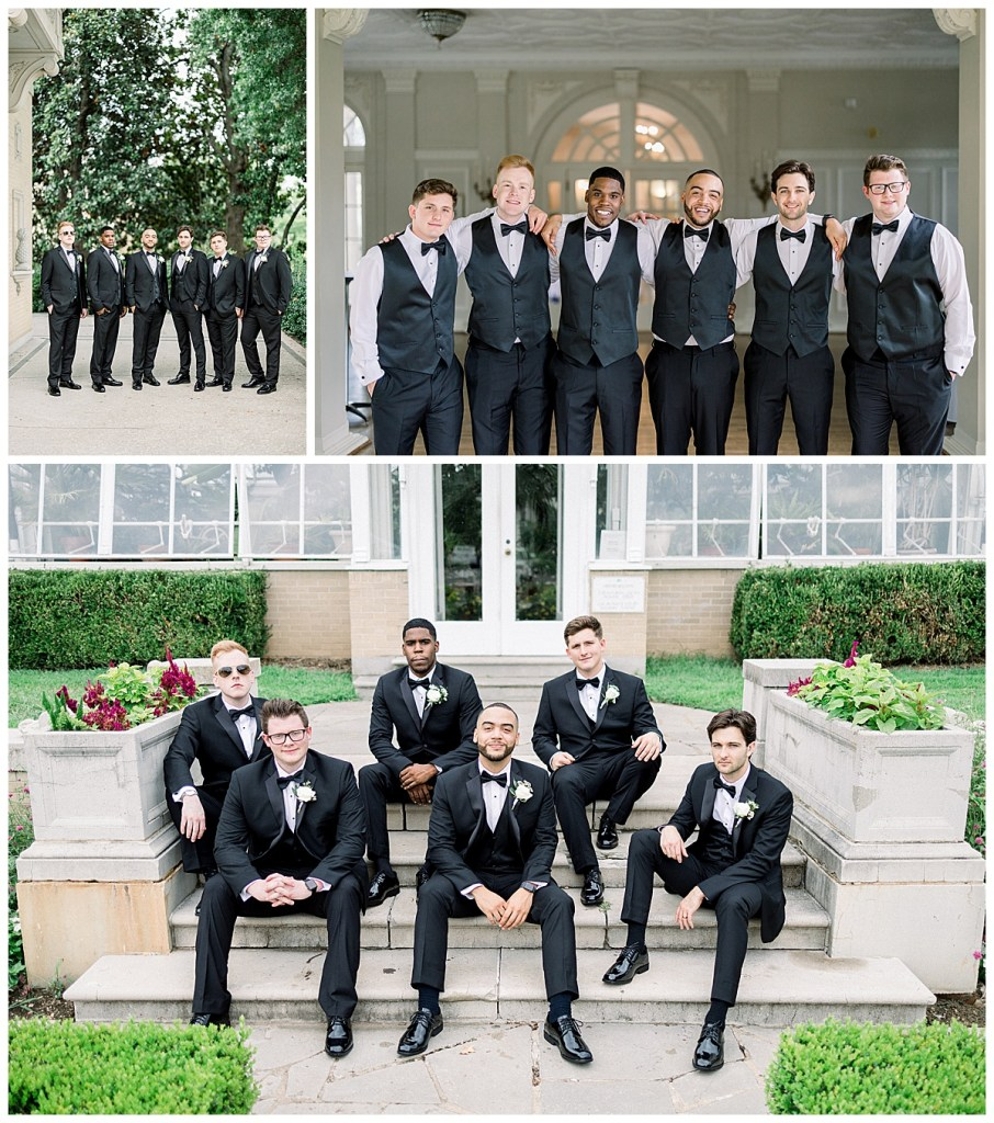 Groom and groomsmen in black at The Mansion at Woodward Park| Tulsa wedding venue| Tulsa wedding photographer| Andi Bravo Photography