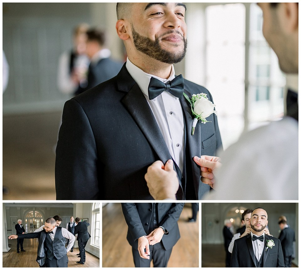 Groom getting ready shots| White rose boutonniere| The Mansion at Woodward Park| Andi Bravo Photography