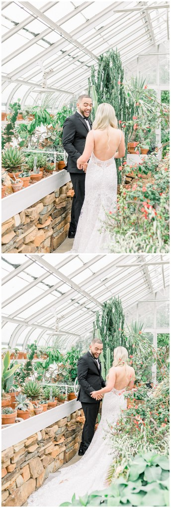 Groom turns around and sees bride for first time| first look| greenhouse wedding| lacy low back wedding gown| Andi Bravo Photography