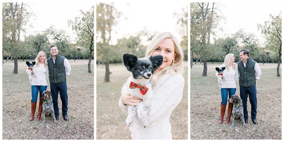 Couple standing in park with their dogs for engagement session