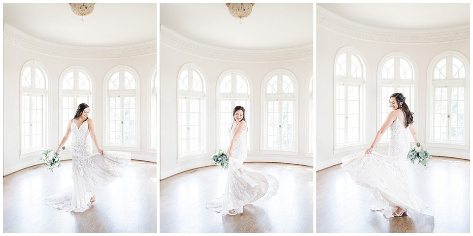 Bride twirling in white oval room in Mansion at Woodward Park Bridal Session Tulsa