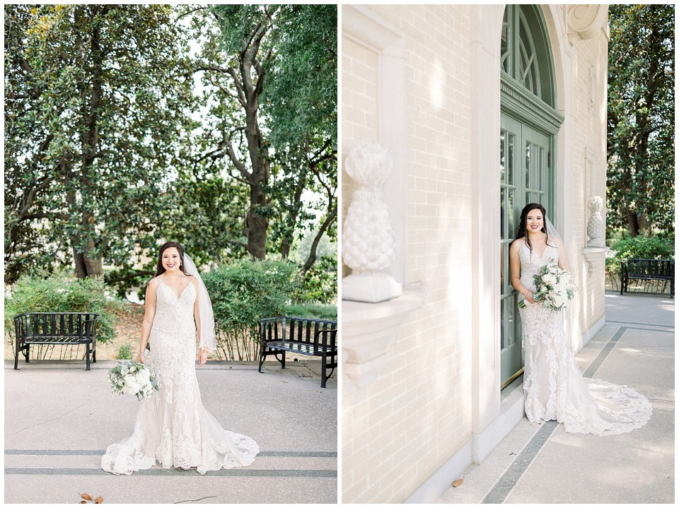 Fine art Bride standing outside Mansion at Woodward Park for Tulsa bridal session