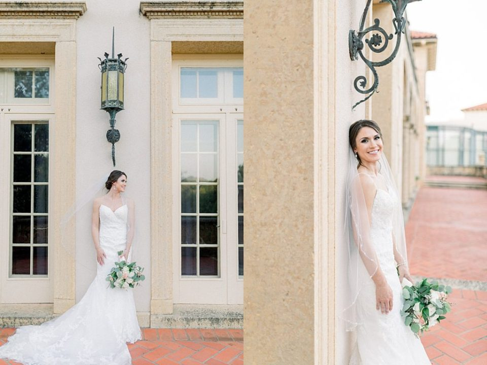 Bride leaning against wall at Tulsa Philbrook bridal session