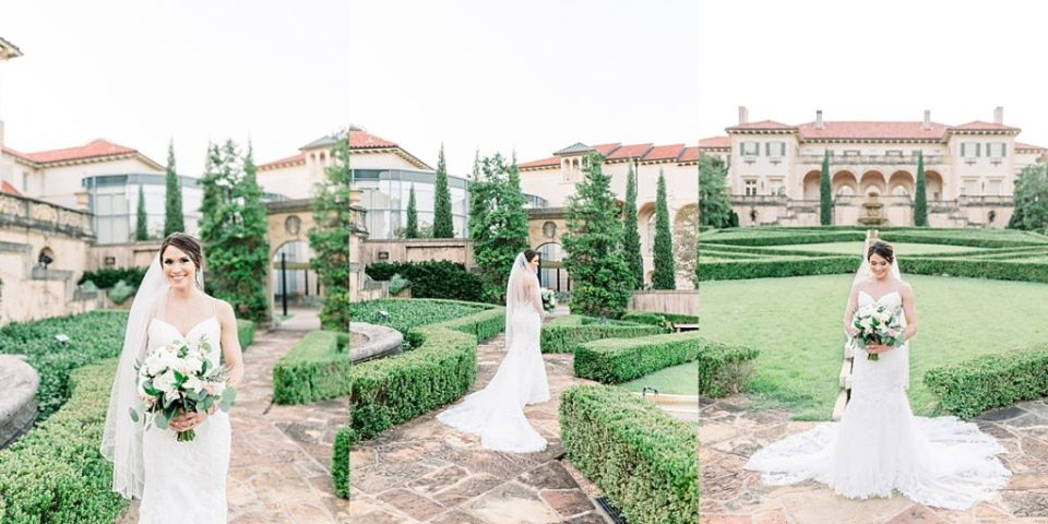 Bride standing in garden at Tulsa Philbrook bridal session s